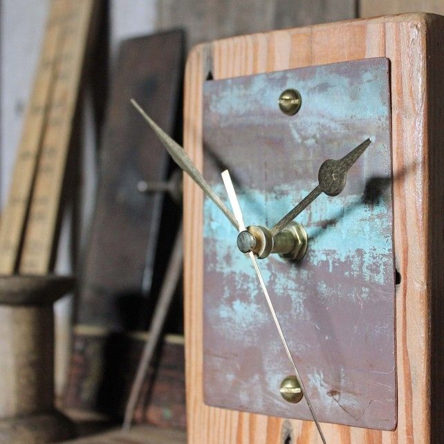 Small Mantel Clock Salvaged Wood and Copper £34.99