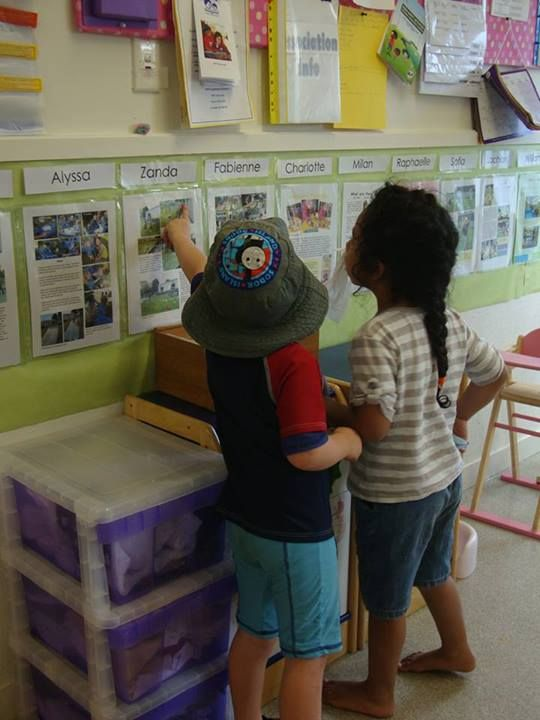 Learning stories at Glen Innes Playcentre- at the children's level and listed under specific names - children can revisit what they have learned