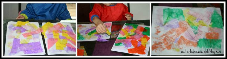 Peinture avec papier crépon