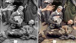 Image caption                                      Marina Amaral usó sus conocimientos de Photoshop para darle color a imágenes históricas como la de este campo de concentración de Wöbbelin, Alemania, de 1945. (Foto original: Archivo Nacional de EE.UU.).                                La ciencia dice que los colores son capaces de despertar emociones y tal vez eso es lo que hay detrás del trabajo de la bra