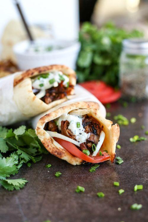 Jackfruit & Mushroom Gyros with Tzatziki -... | Garden of Vegan