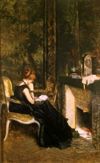 Nittis, Giuseppe De (b,1846)- Love Letter at Fireplace