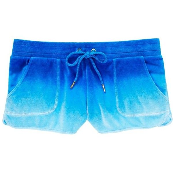 Juicy Couture Short in Ombre Velour (40 CAD) ❤ liked on Polyvore featuring shorts, bottoms, pants, light seaside ombre, drawstring shorts, pocket shorts, juicy couture, sexy shorts and short shorts