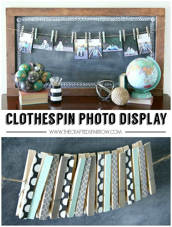 27. DIY Clothespin Photo Display at Crafted Sparrow