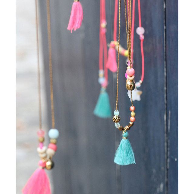 Beautiful #neon beaded tassel necklaces #Neon #DIY #Jewellery