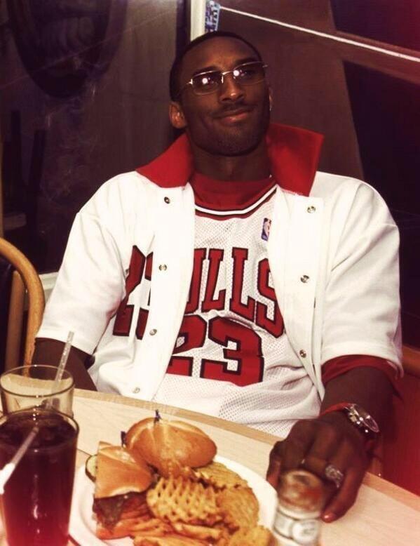 A young Kobe Bryant dressed up as Michael Jordan