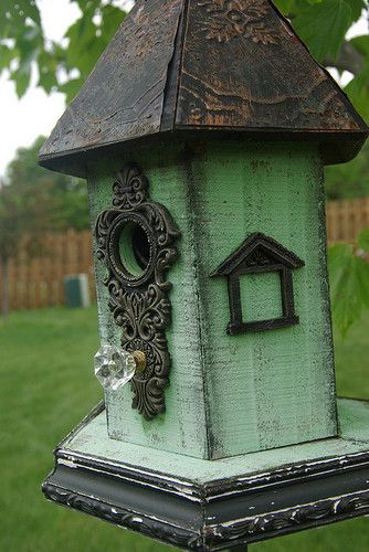 Unique birdhouses for your yard.  Take a simple birdhouse, go to Hobby Lobby and pick up some details for the outside of the birdhouse.