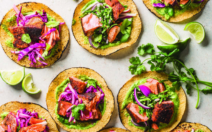 This taco recipe swaps fried fish for sauteed salmon, which is rich in omega-3 fatty acids known for reducing blood pressure and triglycerides. The slaw adds extra crunch and nutrients, thanks to vitamin K-packed collard greens and vitamin C-rich jicama. (You can substitute kale or spinach for collards if you like.)Jicama, the low-cal Mexican root [...]