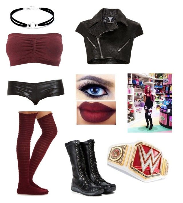 WWE match vs Sasha Banks by rosemlove on Polyvore featuring Barbara Bui, Charlotte Russe and Lulu*s