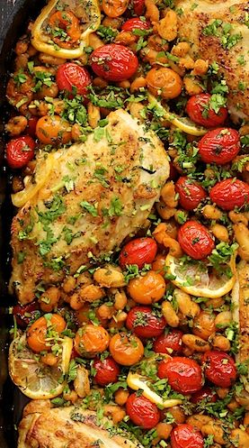 Mediterranean Roasted Chicken Breasts with Tomatoes and Cannelini Beans