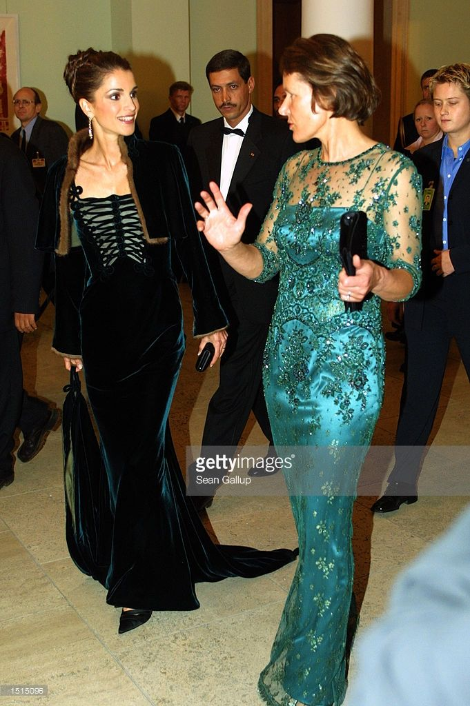 2002, Jordanian Queen Rania and German first lady Christina Rau arrive for... News Photo | Getty Images