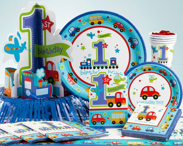 All Aboard birthday party supplies celebrate a milestone occasion! Little boys have big dreams of traveling everywhere in fancy vehicles that make lots of noise! The All Aboard party supplies will transport your birthday passengers to the party station with cars, busses, trains and planes motoring across basic tableware and cool accessories such as scene setters, centerpieces, banners, cutouts, favors and more! The All Aboard theme decorations are geared towards a boy�s first birthday and…