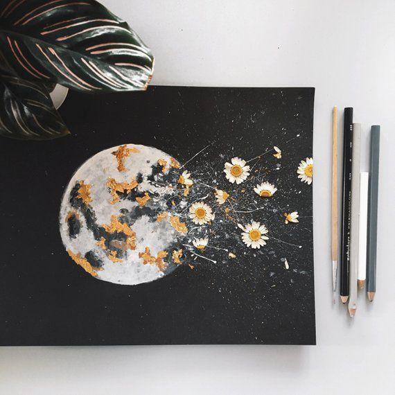 """DRUCK: """"DARK NIGHT"""" Mond Aquarell mit Blattgold und Trockenblumen – #Dark #Dr …"""