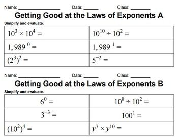 This is 8 levels of carefully-designed laws of exponents practice. It's a great review/practice activity. It begins with basic expressions that require the use of just one property and builds in complexity. The final level combines fractions and negative numbers.My experience:I printed the levels on a variety of colored paper and spread them out on a desk.