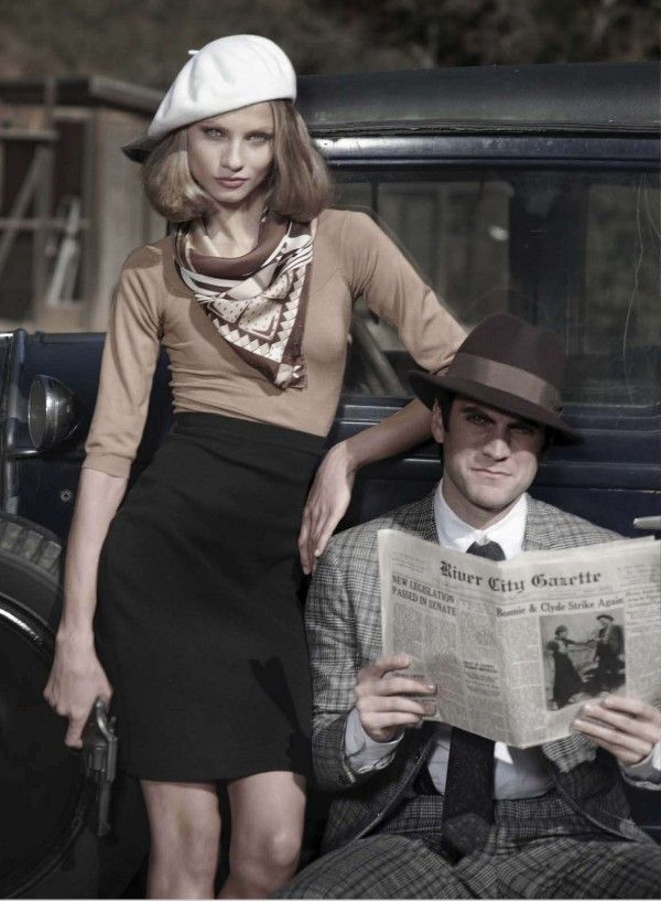 Bonnie and Clyde Editorial by Peter Lindbergh. Sharp, classic styles with edge.