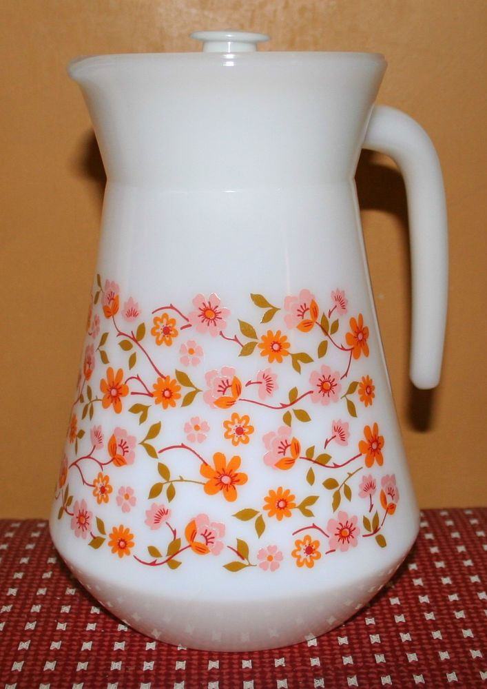 VINTAGE RETRO SCANIA ARCOPAL GLASS JUG WITH LID White Milk Drink French Floral in Home, Furniture & DIY, Cookware, Dining & Bar, Tableware, Serving & Linen   eBay