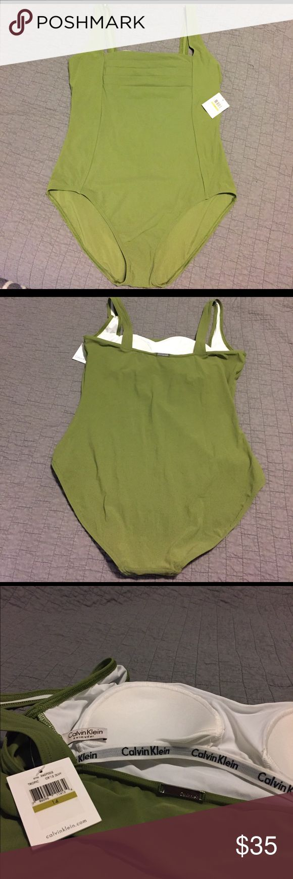 Calvin Klein one piece swim suit New with tags Calvin Klein one piece swim suit. Beautiful olive color. Calvin Klein Swim One Pieces
