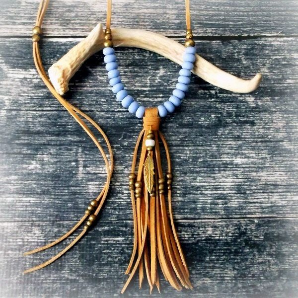 Feather Necklace Long Tassel Necklace Statement Necklace Leather Fringe Necklace - DUSK BLUE - Boho Jewelry Tribal Jewelry Hippie Jewelry by xxxAZUxxx on Etsy https://www.etsy.com/listing/233164179/feather-necklace-long-tassel-necklace