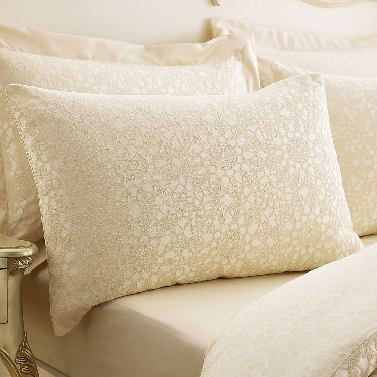 Crochet Jacquard Cream Bed Linen Collection | Dunelm