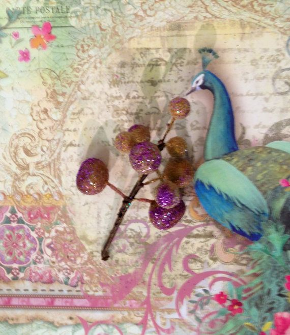 sugar plum tree pick. Darling little purple and bronze glittery sugar plum trees. Cute for altered art fairy crafts or tree pick ornaments