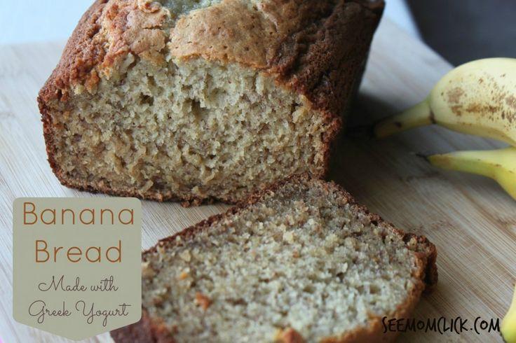 Banana Bread Made with Greek Yogurt. So moist and yummy! www.SeeMomClick.com