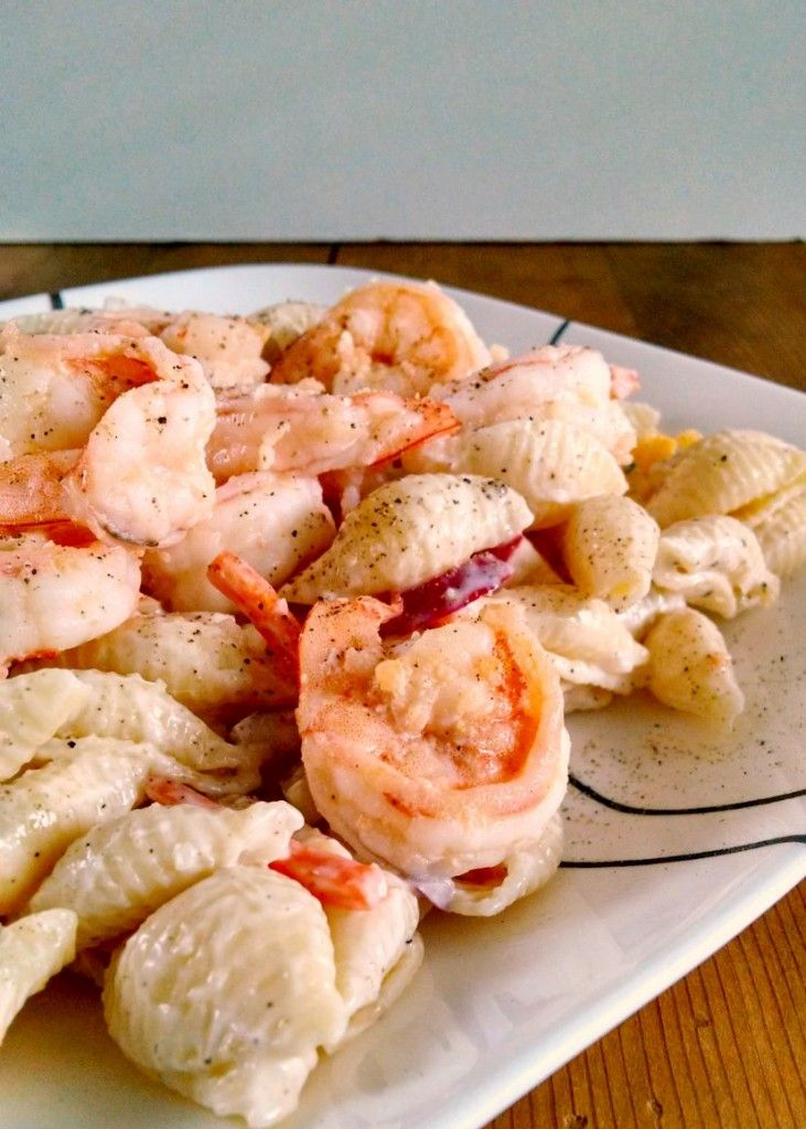 Scrumptious shrimp scampi tops this deliciously light and healthy Shrimp Scampi Pasta Salad.