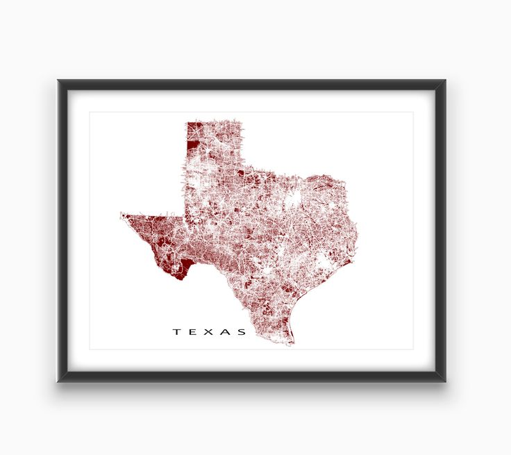 Texas Map / Texas State Art Print / USA State Outline Map (13.00 CAD) by MapsAsArt