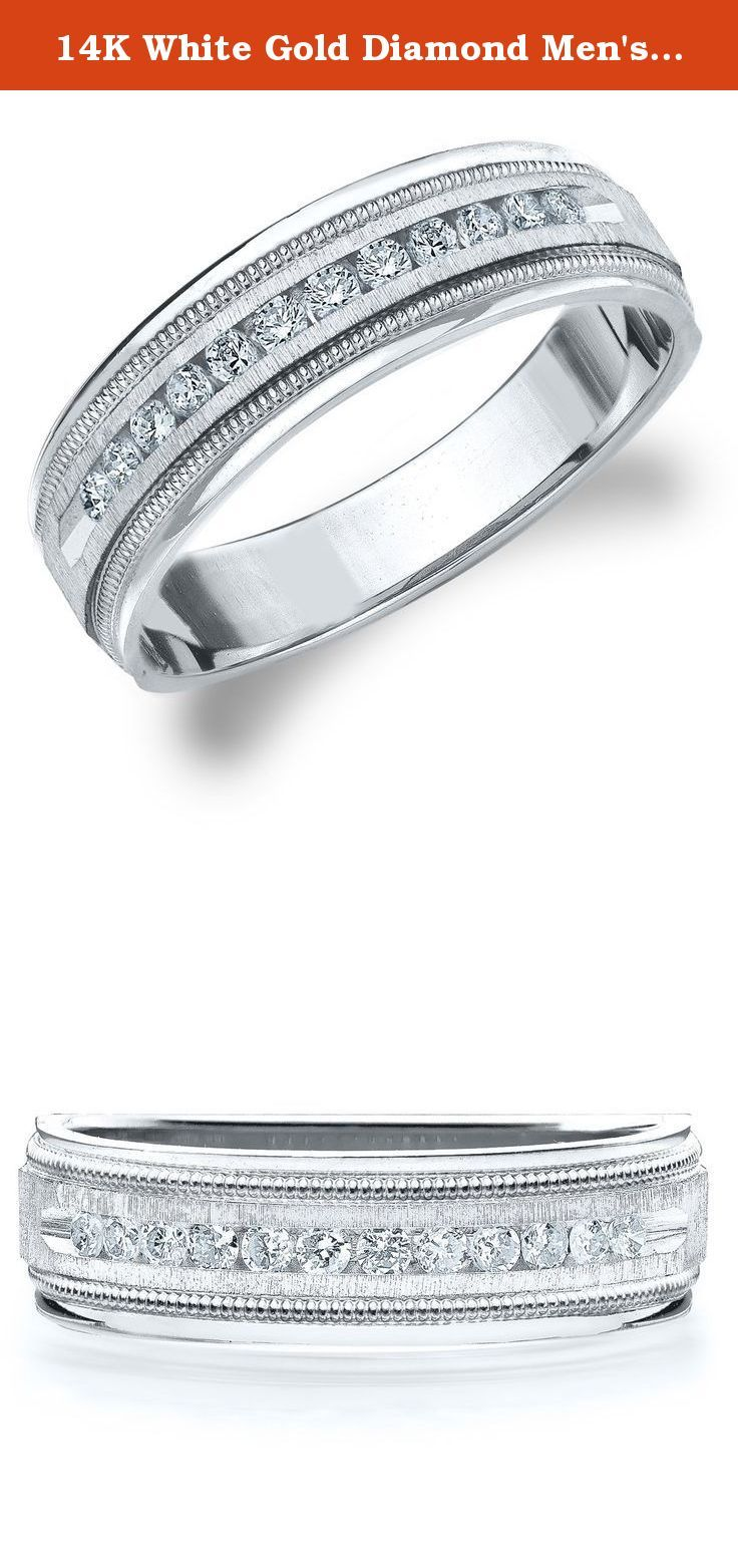 14K White Gold Diamond Men's Satin Finish Milgrain Band (.50 cttw, H-I Color, I1-I2 Clarity) Size 10. A sophisticated design with exquisite lines, this handsome men's eternity wedding ring features .50 CTTW of brilliant cut round diamonds in a charming and masculine channel setting. The dazzling diamonds are secured in place by an expertly crafted satin finish channel setting with a meticulous milgrain edge for a rich and dashing men's ring. This exceptional eternity ring delivers a…