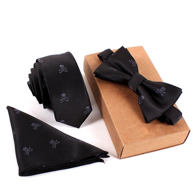 Fashion Business Tie Set Skull Stampa Cravatte Pocket Tovagliolo Quadrato per Gli Uomini di Nozze Vestito Collo Cravatta Gravata Sottile Papillon Fazzoletto Set