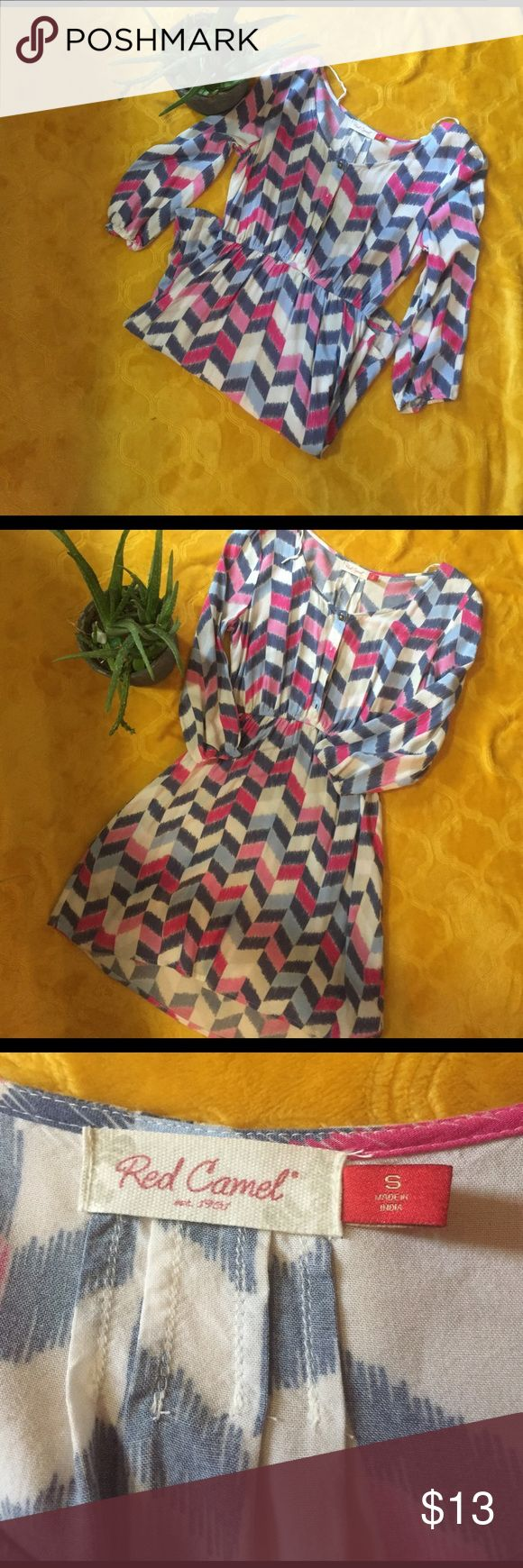 Beautiful stripped pattern dress Red Camel long sleeve dress. Super cute, goes just above the knee, has an adorable pattern and beautiful colors of blue white purple and pink. Excellent condition, smoke free, pet free home. Red Camel Dresses Midi