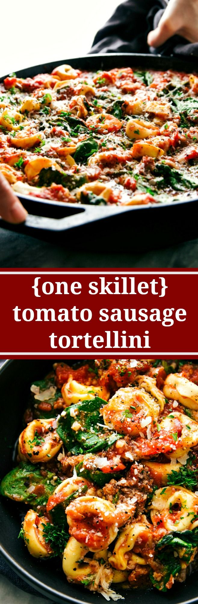 A super easy, 15-minute prep, ONE SKILLET tomato tortellini with sausage…