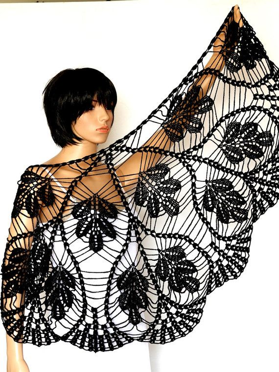 Crocheted Black  Shawl Pattern, Crochet  PDF Tutorial, Womens Scarf Pattern