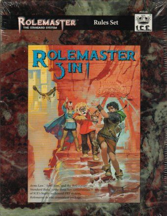 Product Line: Rolemaster  Product Edition: RMSS  Product Name: Rolemaster 3 in 1 (AL, SL, RMSR)  Product Type: RPG Rules  Author: ICE  Stock #: 5510  ISBN: ?  Publisher: ICE  Cover Price: $65.00  Page Count: 784  Format: Softcover  Release Date: 1997  Language: English