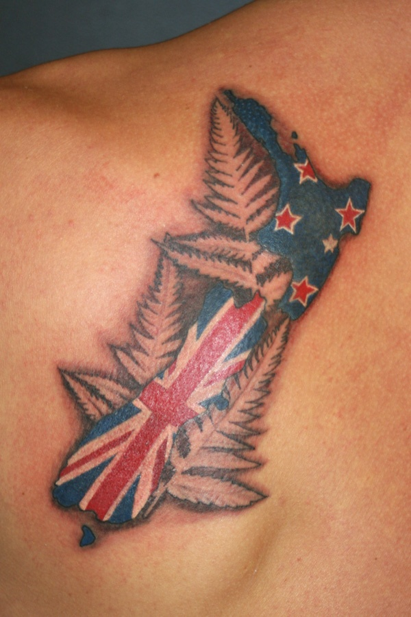Totally want this one.    http://zealandtattoo.co.nz/wp-content/gallery/kiwiana-ornamental-maori/kiwiana-tattoo-map-of-new-zealand-fern-leaf-flag.jpg