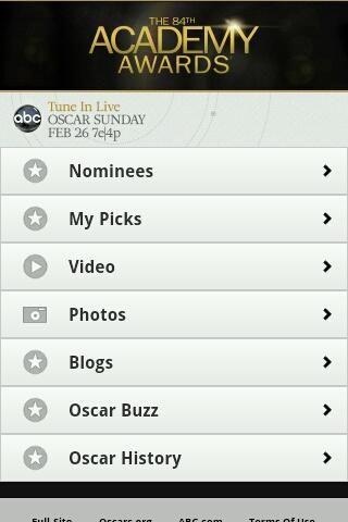 Aplicaciones móviles de Android, Blackberry y iPhone para seguir la entrega de los Oscars 2012
