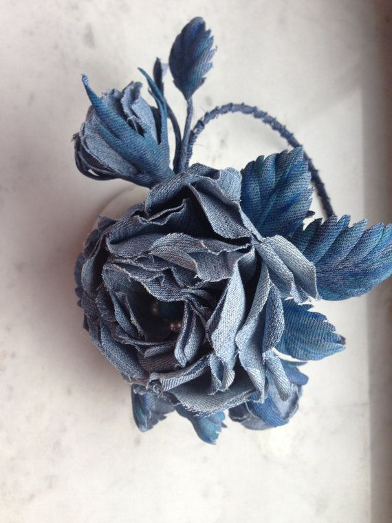 Bridal denim flower denim rose headband denim by denimFlowers
