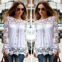 Wish | Women Sheer Sleeve Embroidery Lace Crochet Chiffon Shirt