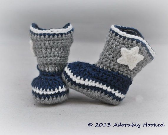 Baby Dallas Cowboy Boots Crochet Cowboy Boots by AdorablyHooked, $24.00