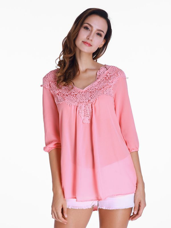 Casual Chiffon Lace Patchwork Long Sleeve Loose Women T Shirt Blouse 8217