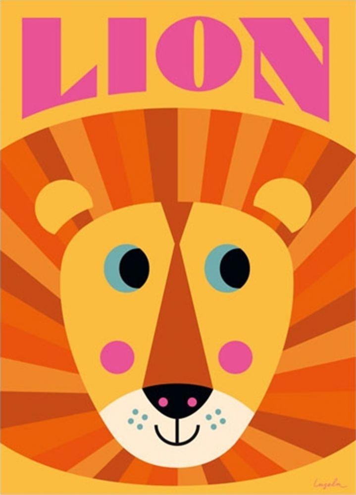 Poster Happy Lion - Löwe  von Ingela P Arrhenius