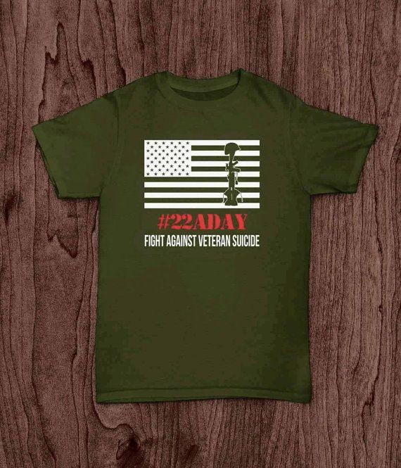 Veteran T Shirt 22 a day Veteran Suicide by LivingWordDesigns16