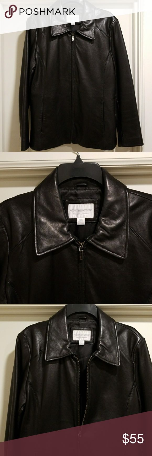 Genuine Lambskin Leather Jacket Genuine Lambskin Leather Jacket. Excellent condition. Zipper front with two pockets. Worthington Jackets & Coats