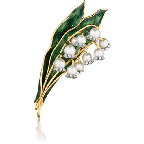 Verdura brooch (not vintage) - Pearls en tremblant, diamond, green enamel and 18k yellow gold - ......  just for 28500 $ ...............