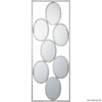 J-Line Wanddecoratie 7 ovale spiegels in metaal 30