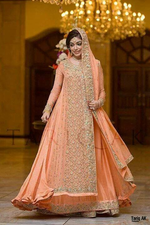 Pakistani Bride - peach bridal gown