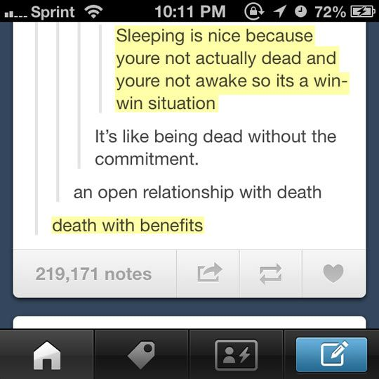 because being awake is hard, and dying is lame so something in between is perfect.