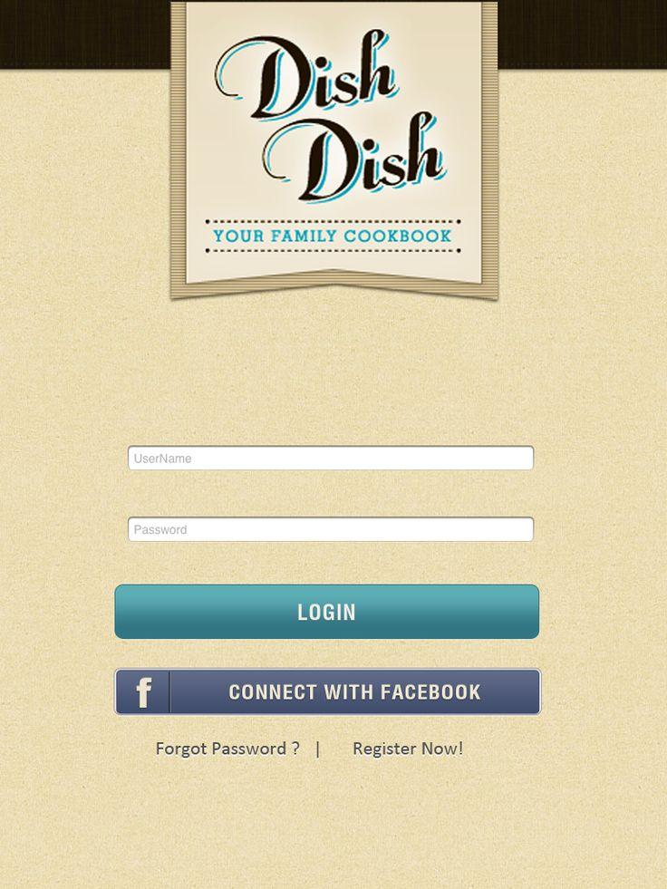 DishDish cookbook | app login screen, app release, Dish Dish online cookbook app