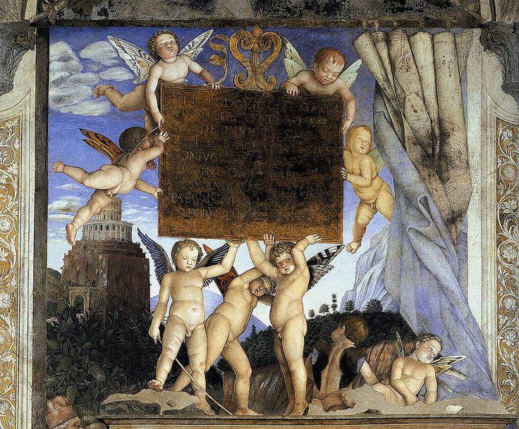 MANTEGNA, Andrea - DucalPalace- Inscription with Putti | Walnut oil on plaster. Camera degli Sposi, Palazzo Ducale, Mantua.