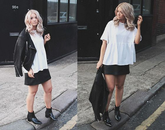 Get this look: http://lb.nu/look/8289553  More looks by Joey Taylor: http://lb.nu/northernmagpie  Items in this look:  Zara White Tee, Whistles Leather A Line Skirt, Asos Black Ankle Boots   #edgy #grunge #minimal #zara #fbloggers #tshirt #tee #leatherskirt #whistles