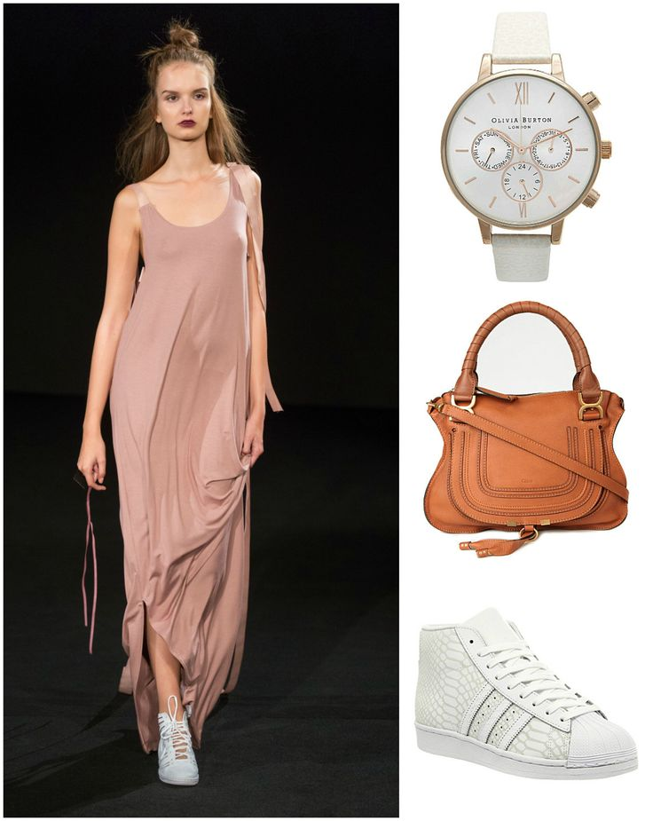 Get a flawless city look with ODIVI's blush maxi dress. Look fashionable while running around the city in trendy trainers, a Chloé bag, and a watch by Olivia Burton Watches. #citylook #praguefashion #czechdesigner #summerfashion #summerdress #summerinthecity #oliviaburtonwatches #Chloé